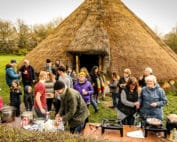Church Easter breakfast at Hadleigh Iron Age Roundhouse
