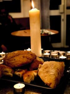 Bread and candles ready for communion